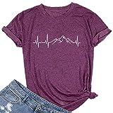 Women Camping Hiking Shirt Mountain Heartbeat Graphic Tees Cute Casual T-Shirt (Purple XL)