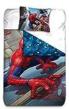 AYMAX S.P.R.L Spiderman Housse de Couette rversible avec Taie d'oreiller, Microfibre, Rouge, 200x140 cm