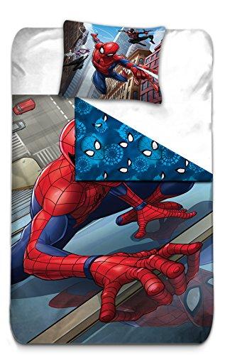 AYMAX S.P.R.L Funda de edredón de Spiderman Reversible con Funda de Almohada - Microfibra - Color Rojo, 200x 140cm