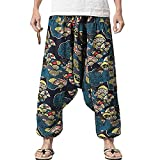 PERDONTOO Men Women Cotton Harem Yoga Baggy Genie Boho Pants (34, Style 3)