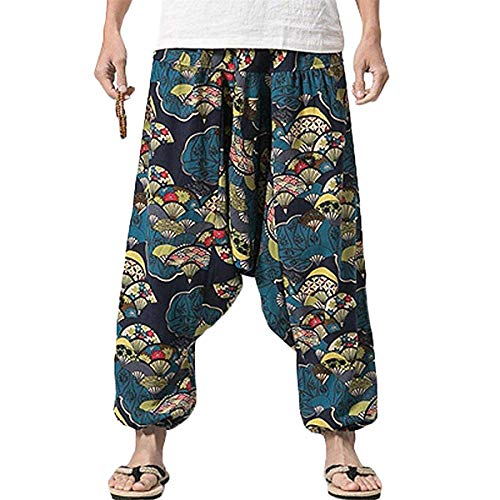 PERDONTOO Men Women Cotton Harem Yoga Baggy Genie Boho Pants (29, Style 3)