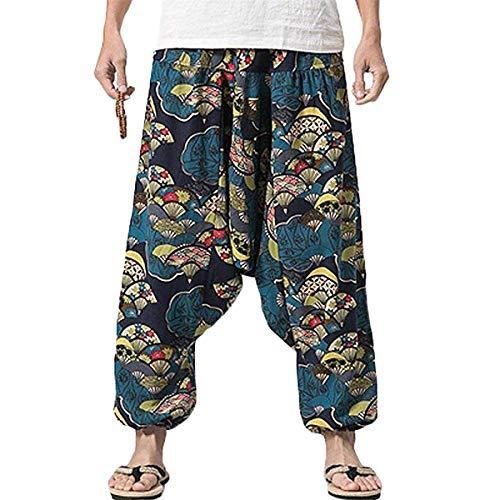 PERDONTOO Men Women Cotton Harem Yoga Baggy Genie Boho Pants (38, Style 3)