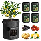 T4U Fabric Potato Grow Bags with Flap 10 Gallon Pack of 5, Heavy Duty Nonwoven Smart Garden Pot with Handle, Thickened Aeration Cloth Planter Container for Outdoor Carrot, Tomato, Chili, and Vegetable