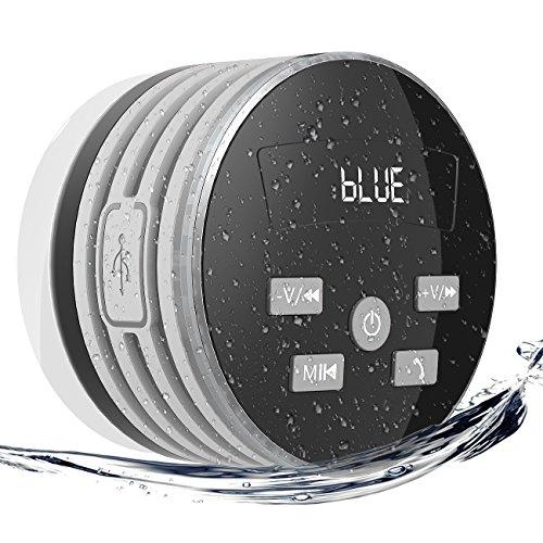 EXTSUD IPX7 Bluetooth Lautsprecher,wasserdichte Bluetooth Lautsprecher mit FM Radio 5W Tragbarer Duschradio Wireless Lautsprecher Badradio Freisprecheinrichtungfür Outdoor, Dusche (Grau)