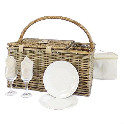 Country Deluxe 2 personne pique-nique avec couvercle et accessoires, y compris SAC à assiettes en porcelaine, Verres à vin, Couverts en acier inoxydable, idées cadeau pour toute occasion