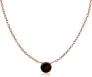 Ice Gems Rose Gold Flashed Sterling Silver Small Dainty Round Cubic Zirconia Choker Necklace