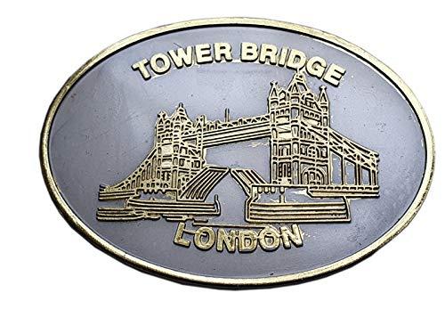 Thomas Benacci - Calamita ovale da frigorifero in metallo effetto peltro con simbolo britannico Souvenir da Inghilterra Regno Unito