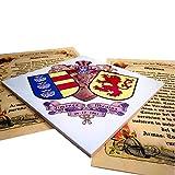 Azulejo heráldico con el Escudo de Dos Apellidos, para Exteriores o Interiores. 20cms. x 20cms. De Regalo los orígenes de los Apellidos