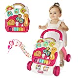 SUPER JOY 3 in 1 Baby Walker,Sit to Stand Learning Walkers & Removable Play Panel, Kids Early Activity Center with Lights & Sounds, Music Learning Play Toys Gift for Infant Boys Girls