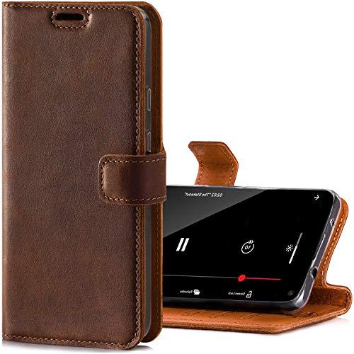SURAZO RFID - Funda de Piel para Apple iPhone XR (Nobuck), diseño Vintage, Color marrón