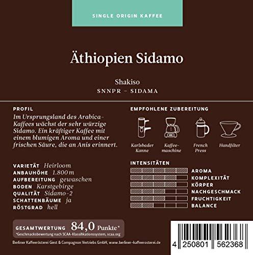 Berliner Kaffeerösterei Äthiopien Sidamo 1000g, ganze Bohne, 1er Pack (1 x 1 kg)