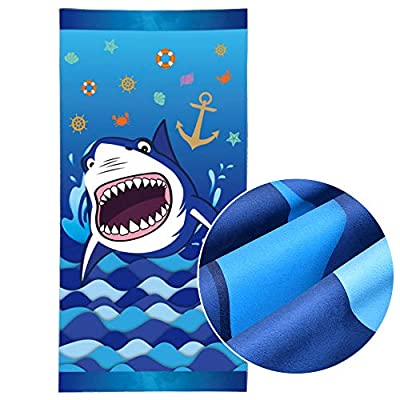 WERNNSAI Shark Beach Towel - Microfiber Sand Free Blue Beach Blanket