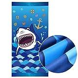 WERNNSAI Toallas de Playa Tiburón - 76 × 152cm Microfibra Azul Manta de Playa Prueba de Arena Absorbente Seque...