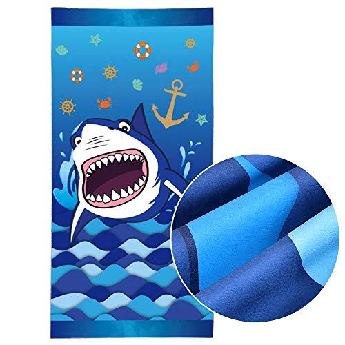Toallas de Playa Tiburón - 76 × 152cm Microfibra Azul Manta de Playa Prueba de Arena Absorbente Seque Rápidamente Picnic Viajes Nadar Playa Toallas Piscina Shark Suministros para la Fiesta