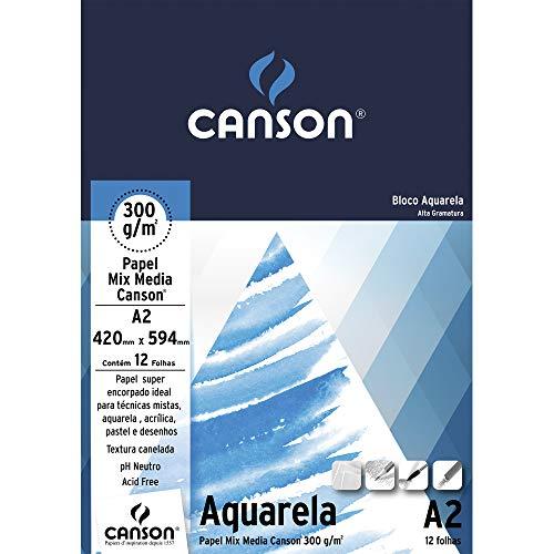 Bloco Aquarela A2 300g/m², Canson, 66667182, 12 Folhas