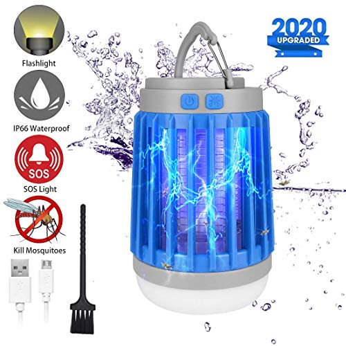 2020 Bug Zapper Outdoor Camping Lantern LED Flashlight, 3-in-1 Portable IPX7 Waterproof Mosquito Killer Camp Lamp LED Tent Light with 2200mAh USB Rechargeable Battery, SOS Emergency, Retractable Hook