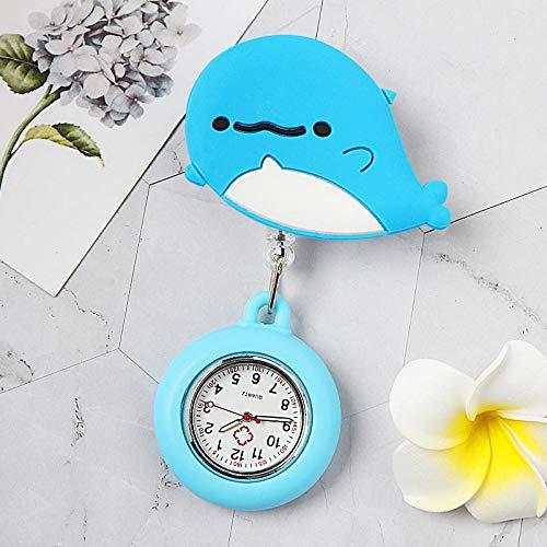 dihui Reloj Enfermera de Flor,Reloj de Bolsillo médico Luminoso, Reloj de Bolsillo Impermeable con Clip retráctil-09,Reloj de Enfermera