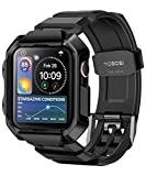 MOBOSI Compatible with Apple Watch Band 44mm Series 6/5/4/SE with Case, Military Grade Rugged Protective Case with TPU Sport Bands Strap for iWatch Series 6/5/4/SE - Black