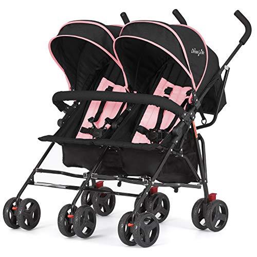 Dream On Me, Volgo Twin Umbrella Stroller, Pink (446-PNK)
