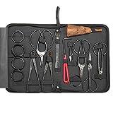 JAXRL 10Pcs Garden Bonsai Tool Set Carbon Steel Cutter Scissors Kit, Shear