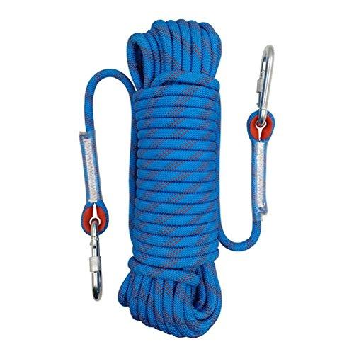Wolike 20 metres de long professionnel Corde 12mm de diamètre 12 KN Escape haute résistance à la corde avec 2 mousquetons, Bleu