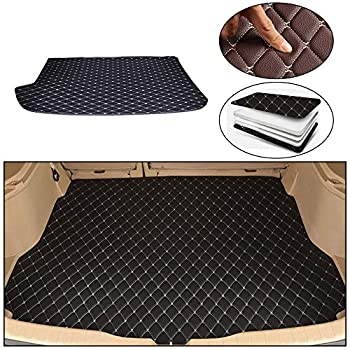 Maite Custom Car Trunk Mats for Volkswagen Polo Hatchback 2014-2018 Leather Car Boot Mats Waterproof Cargo Liner Protector Cover Black Beige