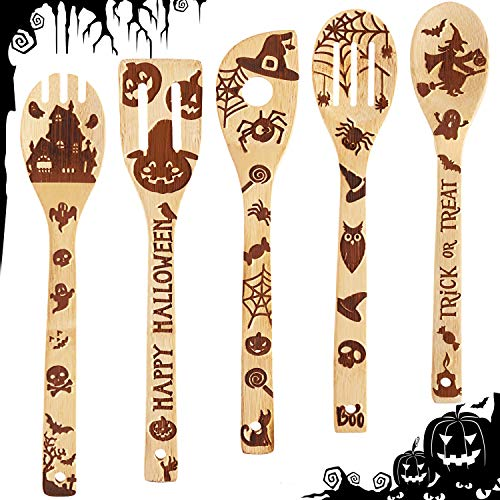 5 Pieces Halloween Wooden Spoons Set Burned Cooking Utensil Spoon Kitchen Bamboo Spoons for Halloween Party Decoration House Kitchen Supplies