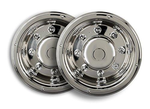 2 tapacubos universales de acero inoxidable de 19,5 pulgadas, revestimiento para llantas de camión