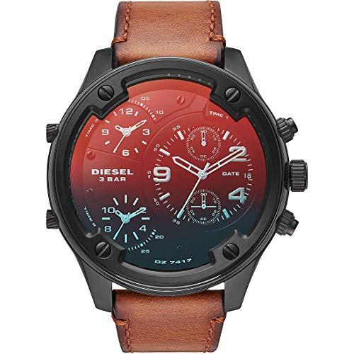 Diesel Reloj Cronógrafo para Hombre de Cuarzo con Correa en Cuero DZ7417