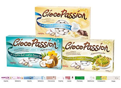 Crispo Confetti Ciocopassion (LATTE + COCCO + PISTACCHIO) 3 KG + Bigliettini