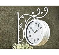 時計両面屋外壁時計ステーションサポート時計ステーションラウンドローリング側壁装飾家の装飾金属主婦(色:B)