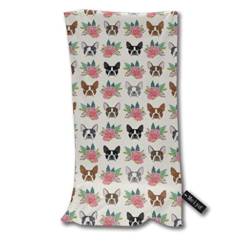"""Boston Terrier Floral Cute Dogs Dog Design Best Boston Terrier Supersoft - Ultra Absorbent - Quick Dry - Machine Washable Oversize Towels 30""""x70"""" - for Beach, Bath, Yoga, Sports,Picnic, Travel etc."""