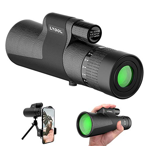 10x30x42 Zoom Monocular Telescope Compact,with Smartphone Holder and Tripod Portable HD Monocular BAK4 Prism FMC Lens Single Hand Focus,for Bird Watching Camping Trip Etc