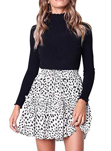 Women's Floral High Waist Drawstring Ruffle Flared Boho A-Line Pleated Skater Mini Skirt (White Cow, M)
