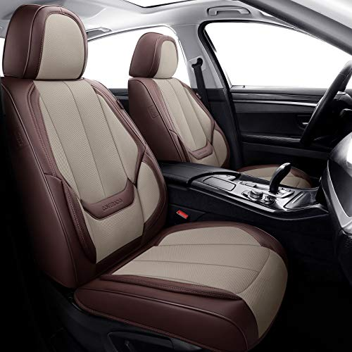Coverado Front and Back Seat Covers 4 Pieces, Breathable Fabric&Leather Car Seat Protectors Full Set, Compatible with Most Sedans SUV Pick-up Truck, Brown