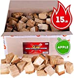 Apple wood chunks for smokers - 15-20lb of smoking wood for grilling and cooking - size of chunks...