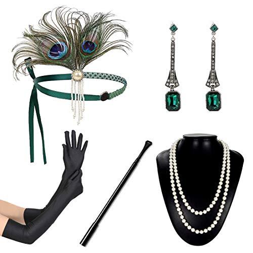 JaosWish Set Accessori Anni'20 Donna Flapper per la Festa Set di 1920s Gatsby Stile Vintage Kit Charleston Accessori con Fascia, Collona, Guanti, Portasigarette