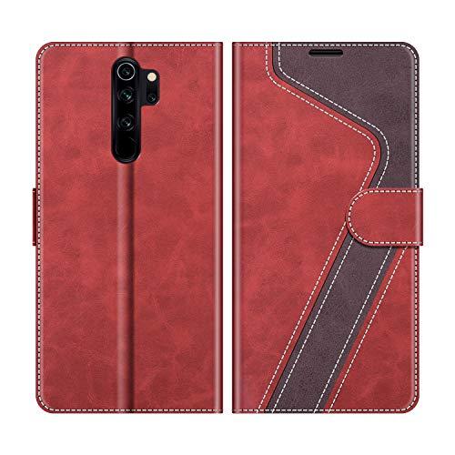 MOBESV Funda para Xiaomi Redmi Note 8 Pro, Funda Libro Xiaomi Redmi Note 8 Pro, Funda Móvil Xiaomi Redmi Note 8 Pro Magnético Carcasa para Xiaomi Redmi Note 8 Pro Funda con Tapa, Rojo