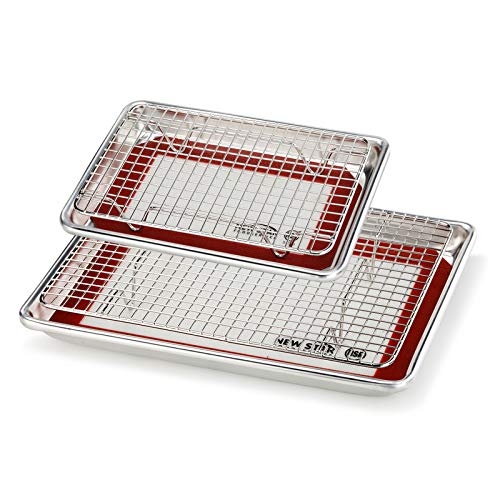 New Star Foodservice 1028768 Commercial-Grade Bun Pan/Baking Sheet, Baking Mat, Cooling Rack Combo, 1/8 and 1/4 Sizes Each