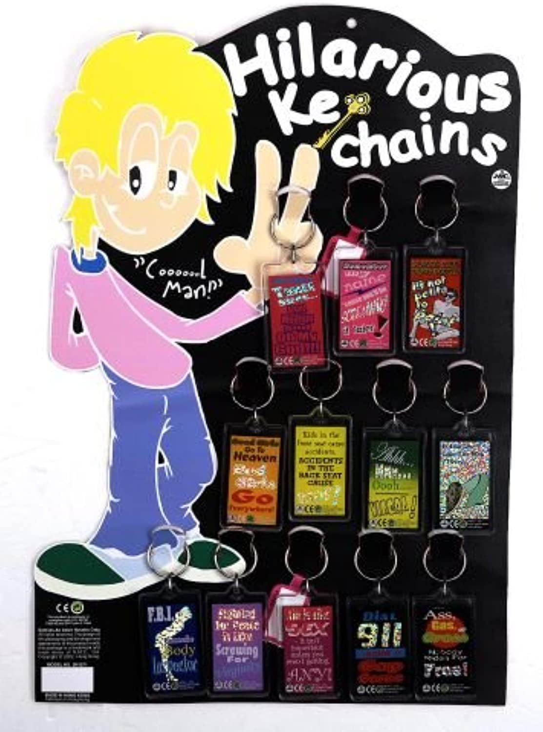 Hilarious Keyrings Includes 12 and Stand