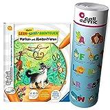 tiptoi Ravensburger Buch | Merken und Konzentrieren - Mein Lern-Spiel-Abenteuer + ABC Buchstaben Lernen - Poster mit Tieren, Tip TOI, Schule, Zahlen -