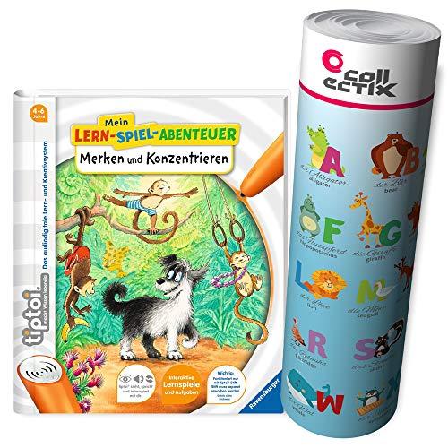 tiptoi Ravensburger boek | Merken en concentreren - Mijn leer-speel-avontuur + ABC letters leren - poster met dieren, tip TOI, school, cijfers