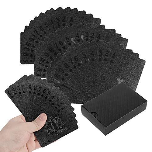 Póker Naipes Baraja de Cartas de Póquer Impermeables de PláStico Baraja Poker Negros Geniales con Caja para Familiares Mesa Juegos de Cartas Tarjetas (54Piezas/Cubierta)