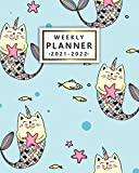 2021-2022 Weekly Planner: Cute Mermicat Two Year Calendar, Diary, Agenda | Pretty Cat Mermaid 24 Month Organizer with Vision Boards, Notes, To Do Lists, Holidays