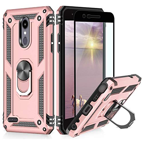TJS Phone Case Compatible with LG Aristo 2/Aristo 2 Plus/Aristo 3/Aristo 3 Plus/Tribute Dynasty/Tribute Empire, [Full Coverage Tempered Glass Screen Protector] Metal Ring Magnetic Support (Rose Gold)