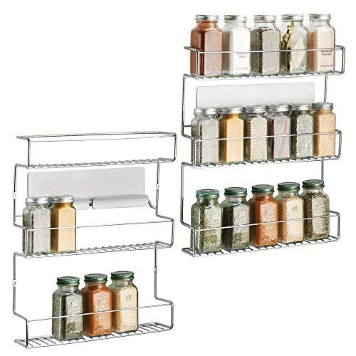 mDesign Set da 2 organizer portaspezie autoadesivo AFFIXX – comodi contenitori spezie da cucina a 3 ripiani – Colore: metallo