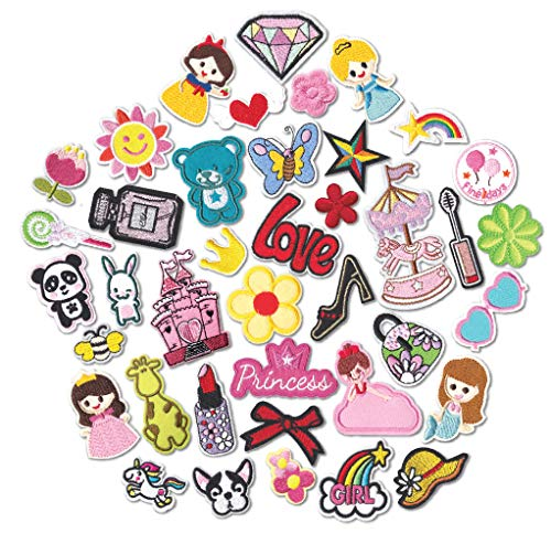 HeyaZea 40pcs Cute Girls Iron On Patches Embroidered Pretty Sewing On Patches Appliques for Clothes Jackets Hats Backpacks Jeans Kids Children; Princess Rainbows Unicorns Flowers Rose Hearts Butterfly