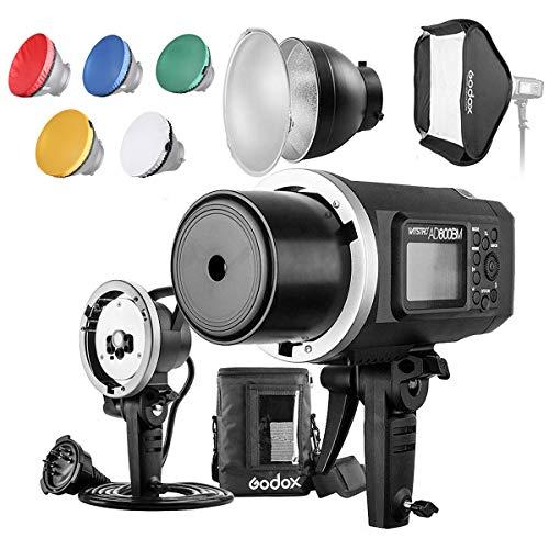Godox AD600BM 600Ws GN87 HSS Flash Strobe Monolight with 8700mAh Battery, 600W Portable Lamp Flash Head, 23'X23' Flash Softbox, 7' Standard Reflector, 7' Flash Diffuser and Portable Flash Bag