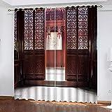 QCTTBD Cortinas De Opacas - 264X 214 Cm - Arquitectura Roja Vintage - para Sala Cuarto Comedor Salon Cocina Habitación - 3D Impresión Digital con Ojales Aislamiento Térmico Cortinas