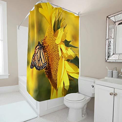Gamoii Sonnenlicht Sonnenblumen Schmetterling Duschvorhang Bad Gardinen Bedruckt Hotel Haus Gardinen Wasserdichter Duschvorhänge mit Ringe White 120x200cm